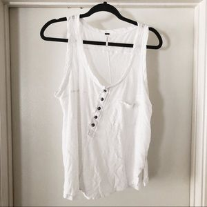 free people | white linen traveler's tank, size S